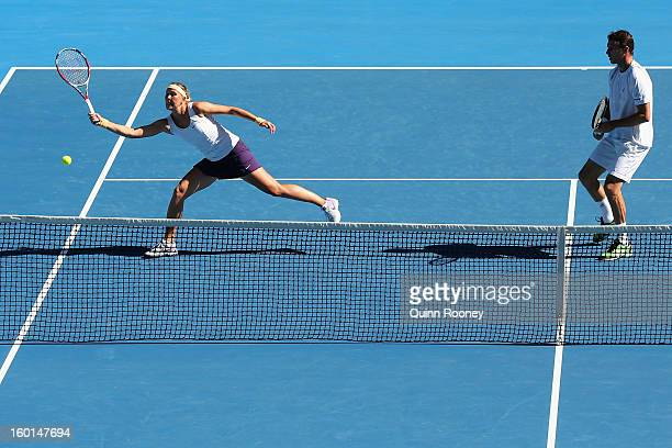 Lucie Hradecka and Frantisek Cermak of the Czech Republic plays a forehand in her mixed doubles final match against Matthew Ebden and Jarmila...
