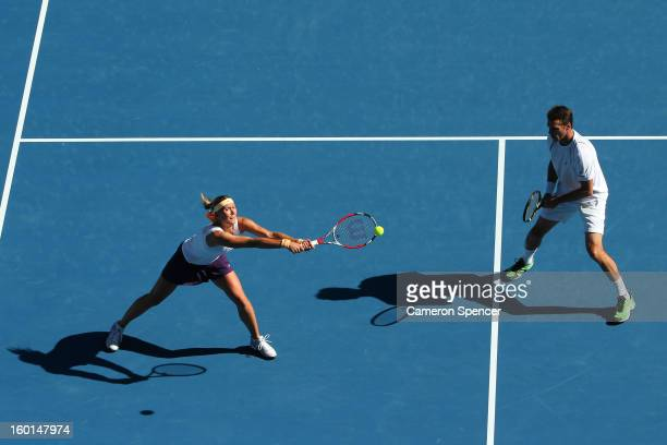 Lucie Hradecka and Frantisek Cermak of the Czech Republic plays a backhand in her mixed doubles final match against Matthew Ebden and Jarmila...