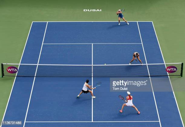 Lucie Hradecka of Czech Republic and Ekaterina Makarova of Russia in action against Lara Arruabarrena of Spain and Kaitlyn Christian of United States...
