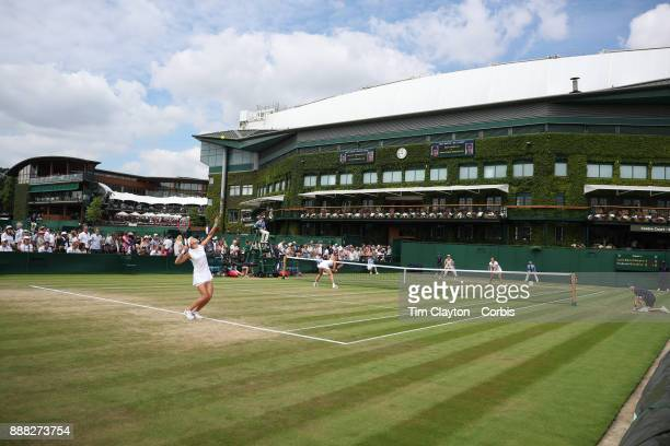 Lucie Hradecka of the Czech Republic and Katerina Siniakova playing their Ladies' Doubles match against Andrea Petkovic of Germany and Mirjana...