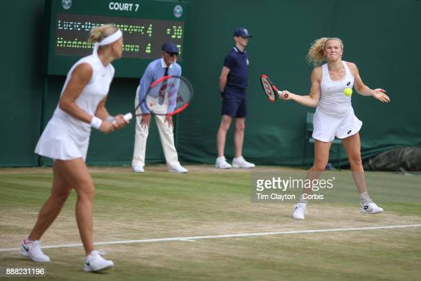 Lucie Hradecka of the Czech Republic and Katerina Siniakova right of the Czech Republic playing their Ladies' Doubles match against Andrea Petkovic...