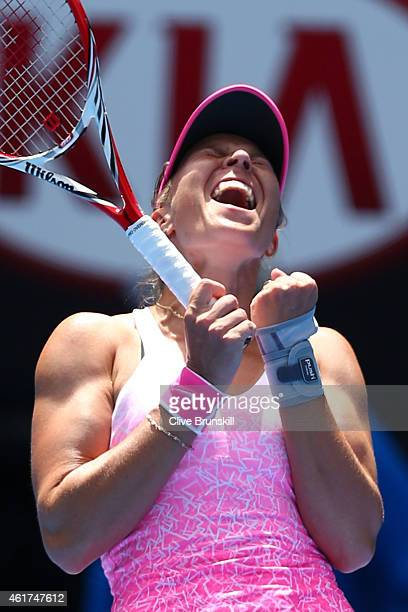 Lucie Hradecka of the Czech Republic celebrates winning her first round match against Ana Ivanovic of Serbia during day one of the 2015 Australian...