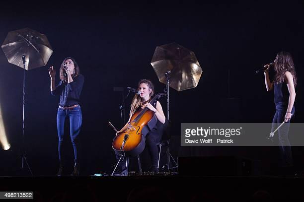 Lucie Lebrun Elisa Paris and Juliette Saumagne from LEJ perform at L'Olympia on November 21 2015 in Paris France