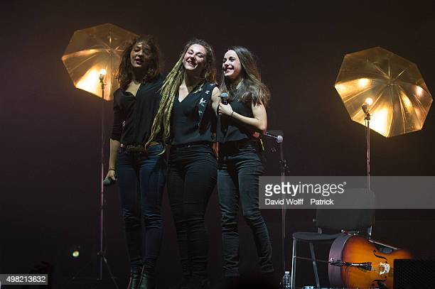Lucie Lebrun, Elisa Paris, and Juliette Saumagne from L.E.J perform at L'Olympia on November 21, 2015 in Paris, France.