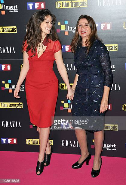 Lucie Lucas and Victoria Abril pose as they attend the awards ceremony of the Trophees Du Film Francais 2011 at Palais De Tokyo on February 3 2011 in...