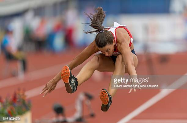 Lucie Majkova of Czech Repblic pushing forward during the women's triple jump finals at the Olympic Stadium during Day Five of the 23rd European...