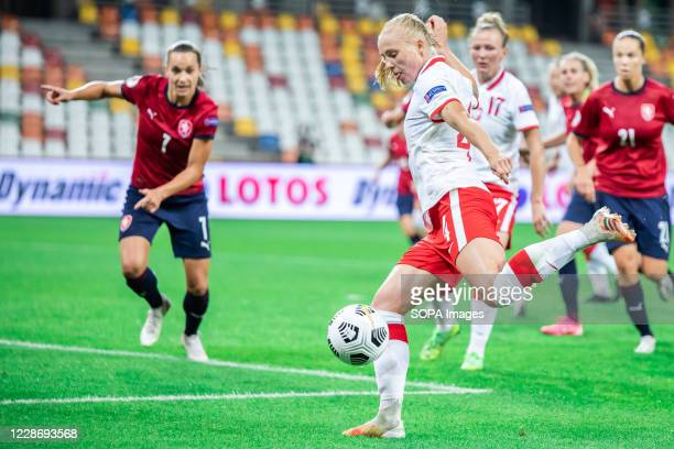 Lucie Martinkova of Czech Republic and Paulina Dudek of Poland seen in action during the UEFA Women's EURO 2021 qualifying match between Poland and...