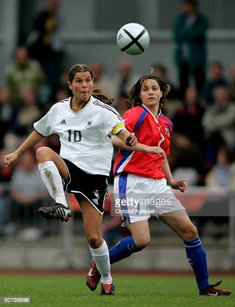 Lucie Martinkova of Czech Republic challenges the ball against Patricia Hanebeck of Germany during the Women's Under 19 European Championships...