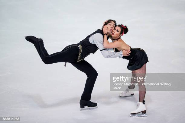 Lucie Mysliveckova and Lukas Csolley of Slovakia compete in the Ice Dance Free Dance during the Nebelhorn Trophy 2017 at Eissportzentrum on September...