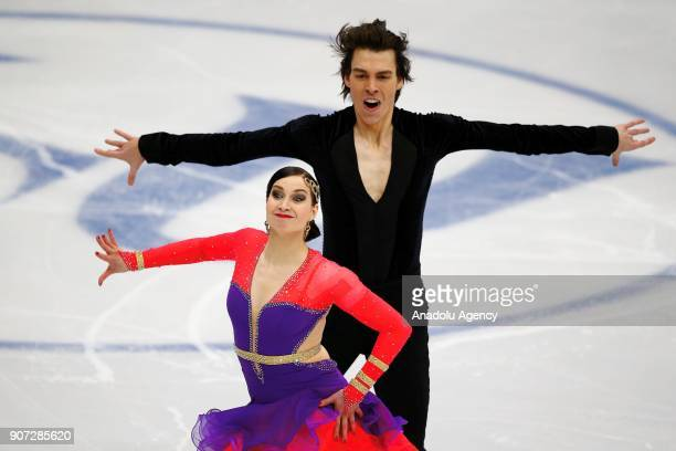 Lucie Mysliveckova and Lukas Csolley of Slovakia perform in the Ice Dance category of Short Dance segment skating during the ISU European Figure...