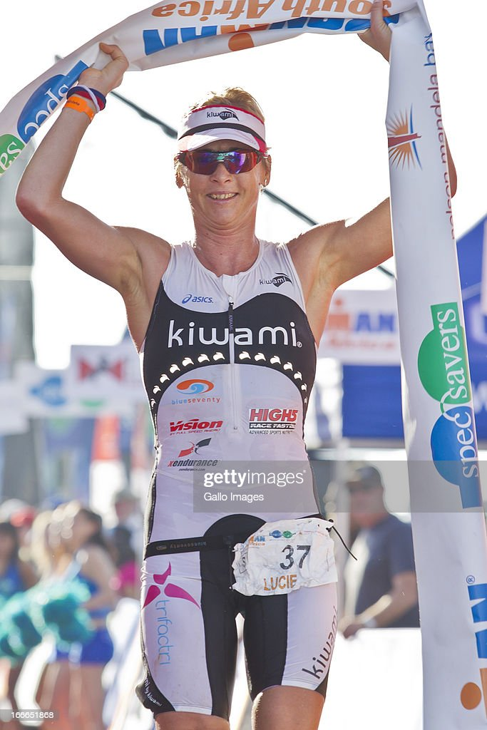 Lucie Reed of Czech Republic, third place lady crosses the line during the Spec-Savers Ironman South Africa from Hobie Beach on April 14, 2013 in Port Elizabeth, South Africa.