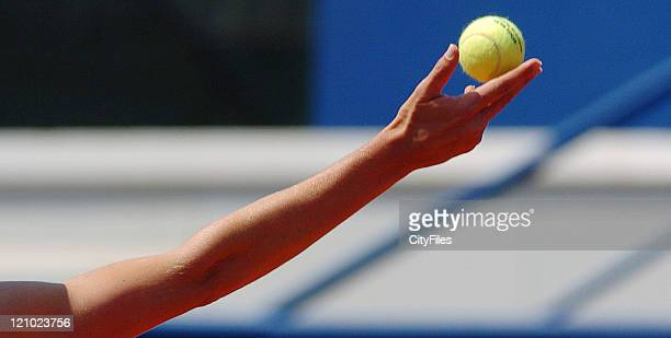 Lucie Safarova in action during a match between Victoria Azarenka at the Tennis 2007 Estoril Open held in Estoril Portugal on May 5, 2007.