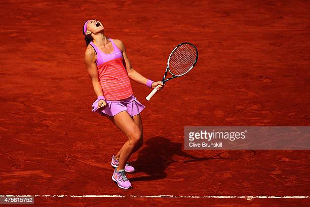 Lucie Safarova of Czech Repbulic celebrates match point in her Women's quarter final match against Garbine Muguruza of Spain on day of the 2015...