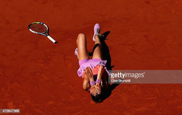 Lucie Safarova of Czech Repbulic celebrates match point in her Women's Semi final match against Ana Ivanovic of Serbia on day twelve of the 2015...