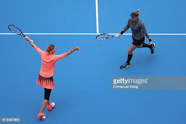 Lucie Safarova of Czech Republic and Bethanie MattekSands of the United States celebrate after winning the Womens's doubles final match against...