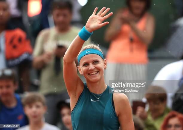 Lucie Safarova of Czech Republic celebrates victory during the ladies singles first round match against Jessica Ponchet of France during day two of...