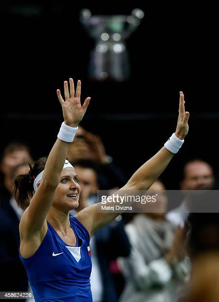 Lucie Safarova of Czech Republic celebrates winning against Angelique Kerber of Germany during day one of the Fed Cup final match between Czech...