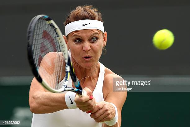 Lucie Safarova of Czech Republic during her Ladies' Singles quarterfinal match against Ekaterina Makarova of Russia on day eight of the Wimbledon...