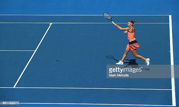 Lucie Safarova of Czech Republic plays a forehand in her second round match against Risa Ozaki of Japan during day two of the 2017 Hobart...