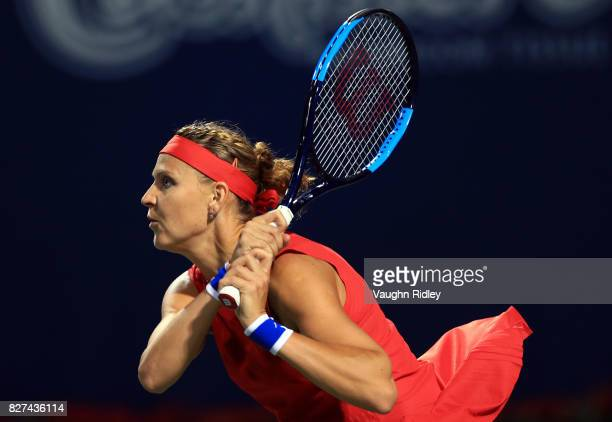 Lucie Safarova of Czech Republic plays a shot against Francoise Abanda of Canada during Day 3 of the Rogers Cup at Aviva Centre on August 7 2017 in...