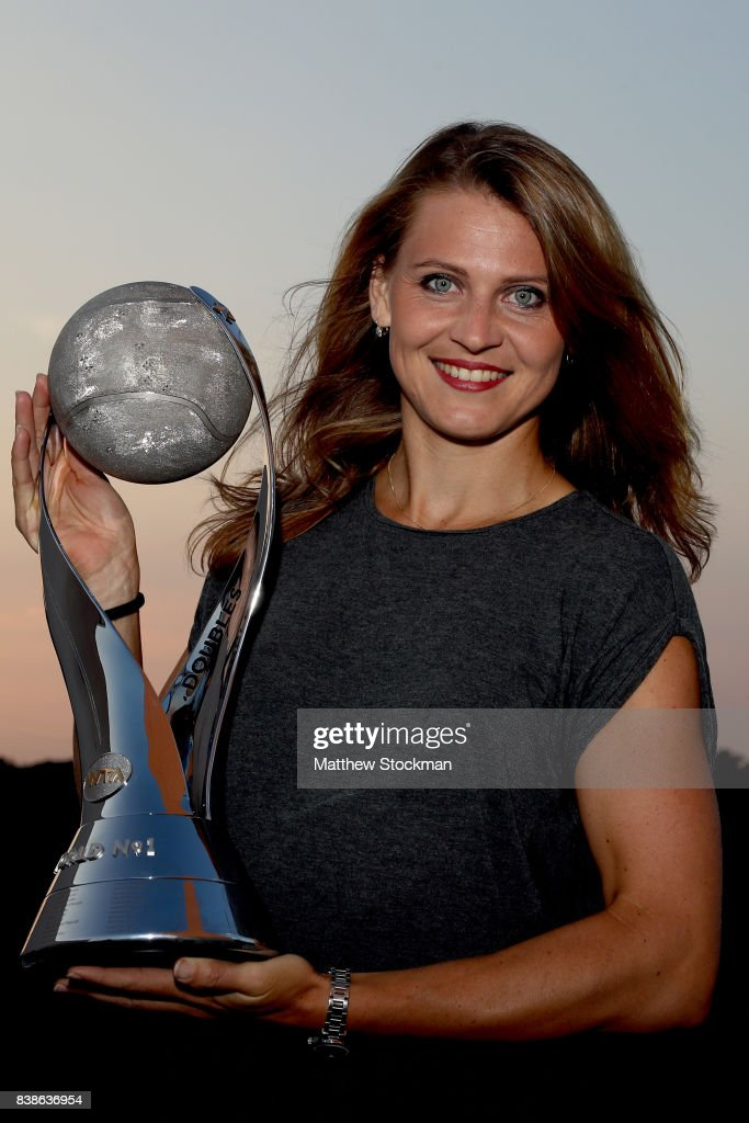 Lucie Safarova of Czech Republic poses for a portrait after capturing the doubles world number 1 ranking during the Western & Southern Open at the Lindner Family Tennis Center on August 18, 2017 in Mason, Ohio.
