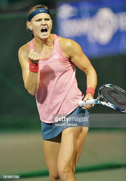 Lucie Safarova of Czech Republic reacts during her women's singles second round match against Roberta Vinci of Italy during day two of the Toray Pan...