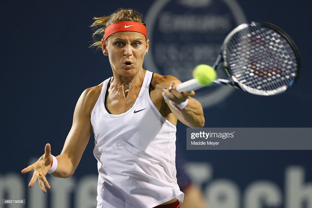 Lucie Safarova of Czech Republic returns a forehand to Irina-Camelia Begu of Romania during day 2 of the Connecticut Open at Connecticut Tennis Center at Yale on August 25, 2015 in New Haven, Connecticut.