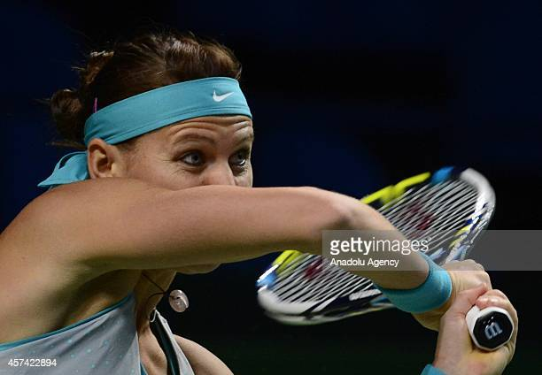 Lucie Safarova of Czech Republic returns a shot against Irina-Camelia Begu of Romania during the Women's singles on semifinal match of Kremlin Cup...