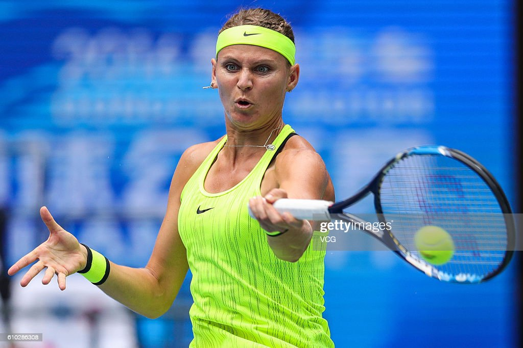 Lucie Safarova of Czech Republic returns a shot during the women's singles first round match against Varvara Lepchenko of America on day 1 of the 2016 WTA Dongfeng Motor Wuhan Open at Optics Valley International Tennis Center on September 25, 2016 in Wuhan, China.