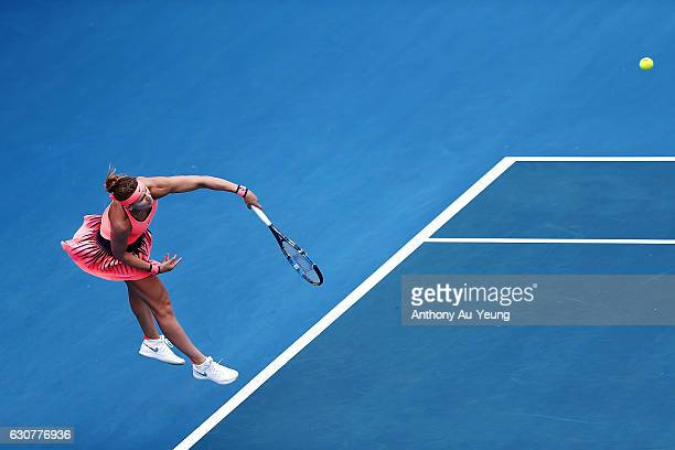Lucie Safarova of Czech Republic serves in her match against Denisa Allertova of Czech Republic on day one of the ASB Classic on January 2 2017 in...