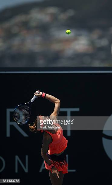 Lucie Safarova of Czech Republic serves in her second round match against Risa Ozaki of Japan during day two of the 2017 Hobart International at...