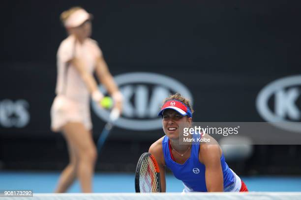 Lucie Safarova of the Czech Republic and Barbora Strycova of the Czech Republic compete in their third round women's doubles match against Sorana...