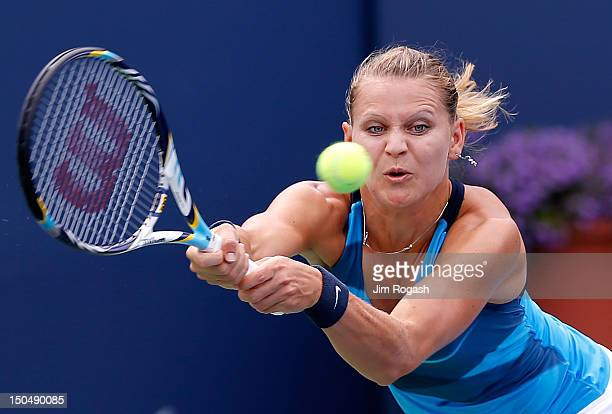 Lucie Safarova of the Czech Republic lunges for the ball during a match against Varvara Lepshenko of the United States at the Connecticut Tennis...