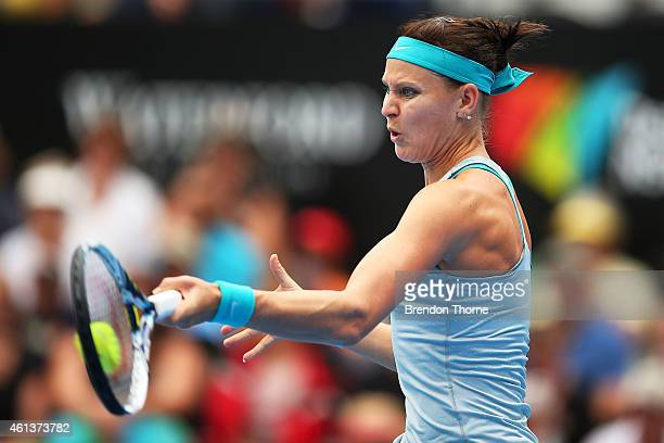 Lucie Safarova of the Czech Republic plays a backhand in her first round match against Sam Stosur of Australia during day two of the 2015 Sydney...