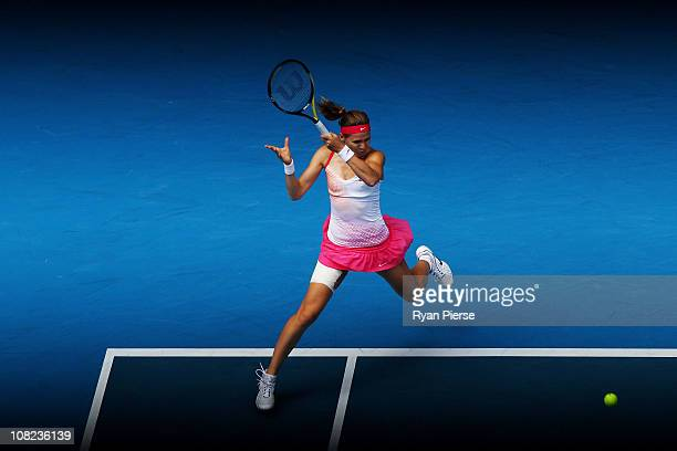 Lucie Safarova of the Czech Republic plays a forehand in her third round match against Vera Zvonareva of Russia during day six of the 2011 Australian...