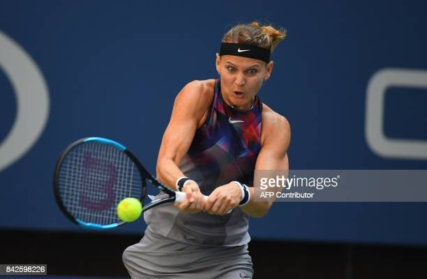 Lucie Safarova of the Czech Republic returns the ball to CoCo Vandeweghe of the US during their Round 4, US Open 2017, Women's Singles match at the...
