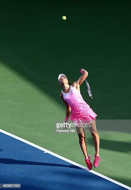 Lucie Safarova of the Czech Republic serves against Karolina Pliskova of the Czech Republic during their women's singles quarterfinal match of the...