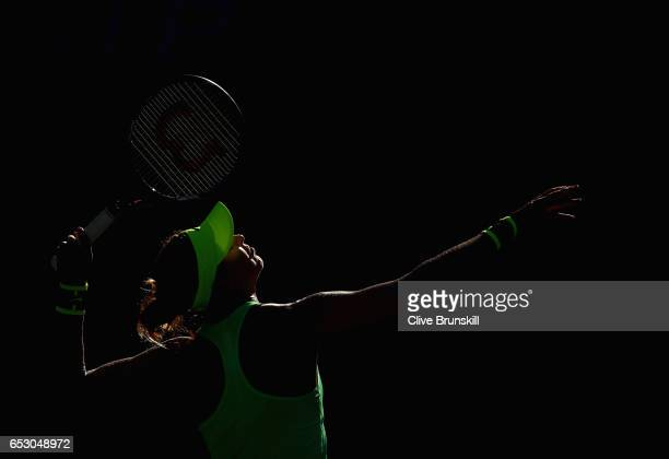 Lucie Safarova of the Czech Republic serves against Venus Williams of the United States in their third round match during day eight of the BNP...