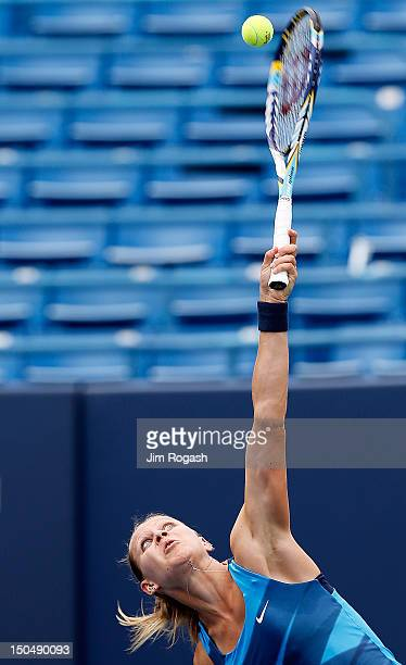 Lucie Safarova of the Czech Republic serves the ball during a match against Varvara Lepshenko of the United States at the Connecticut Tennis Center...