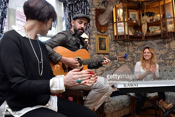 Lucie Silvas performs during a special acoustic session on January 19 2016 at Mr Fogg's Tavern in London England