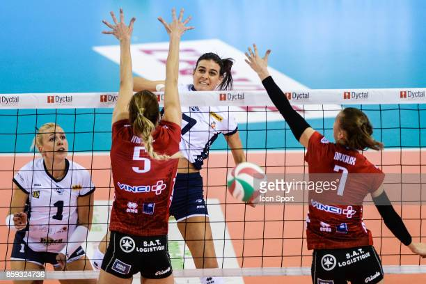 Lucie Smutna Marija Milovic of Venelles during the volleyball women's supercup match between Mulhouse and Venelles on October 7 2017 in Mulhouse...