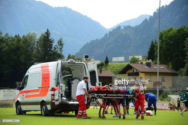 Lucie VoÅková of Bayern Munich is put into an ambulance after receiving a head injury during a PreSeason friendly between Bayern Munich Ladies and...