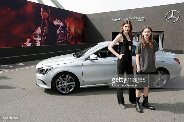 Lucie Von Alten and Eliot Paulina Sumner daughter of singer Sting attend the MercedesBenz Fashion Talk during the MercedesBenz Fashion Week Berlin...