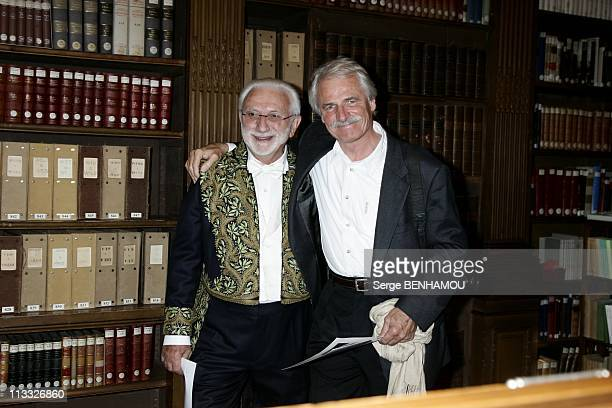 Lucien Clergue Receives The 'Epee D'Academicien' From Christian Lacroix At The 'Ecole Nationale Superieure Des BeauxArts' In Paris France On October...