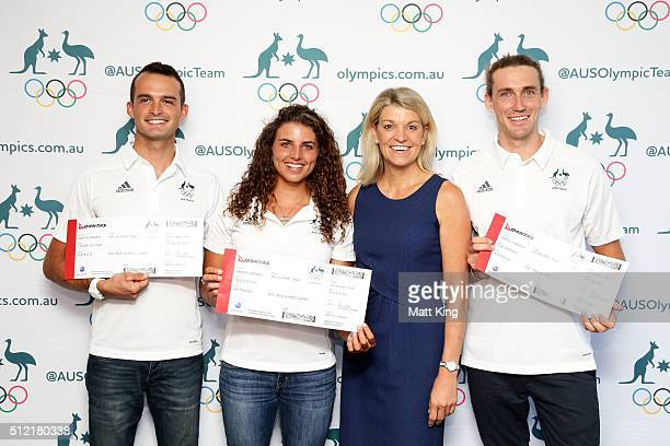 Lucien Delfour Jessica Fox and Ian Borrows pose with Chef de Mission for Australia at the 2016 Summer Olympics Kitty Chiller during the Australian...
