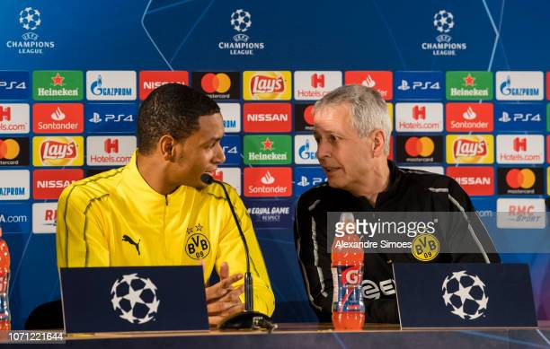 Lucien Favre head coach of Borussia Dortmund and Abdou Diallo during the press conference prior to the UEFA Champions League Group A match between AS...
