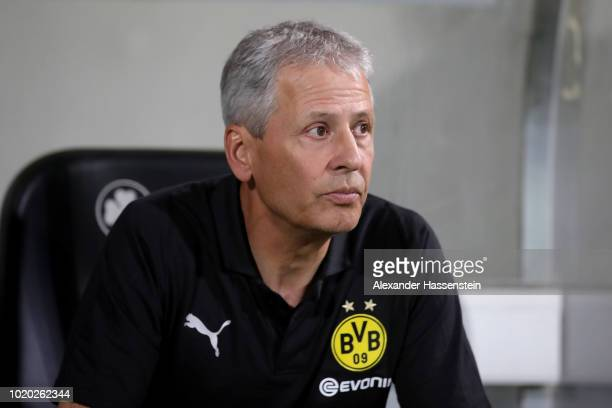 Lucien Favre head coach of Dortmund looks on during the DFB Cup first round match between SpVgg Greuther Fuerth and BVB Borussia Dortmund at...