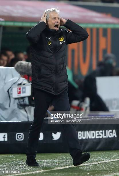 Lucien Favre head coach of Dortmund reacts during the Bundesliga match between FC Augsburg and Borussia Dortmund at WWKArena on March 01 2019 in...