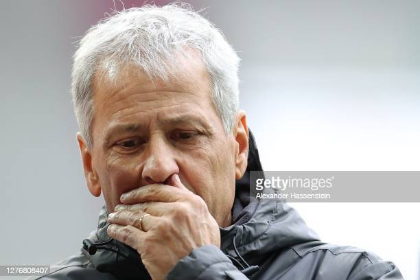 Lucien Favre, head coach of Dortmund reacts prior to the Bundesliga match between FC Augsburg and Borussia Dortmund at WWK-Arena on September 26,...