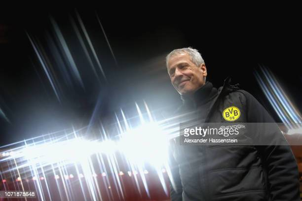 Lucien Favre head coach of Dortmund smiles prior to the UEFA Champions League Group A match between AS Monaco and Borussia Dortmund at Stade Louis II...